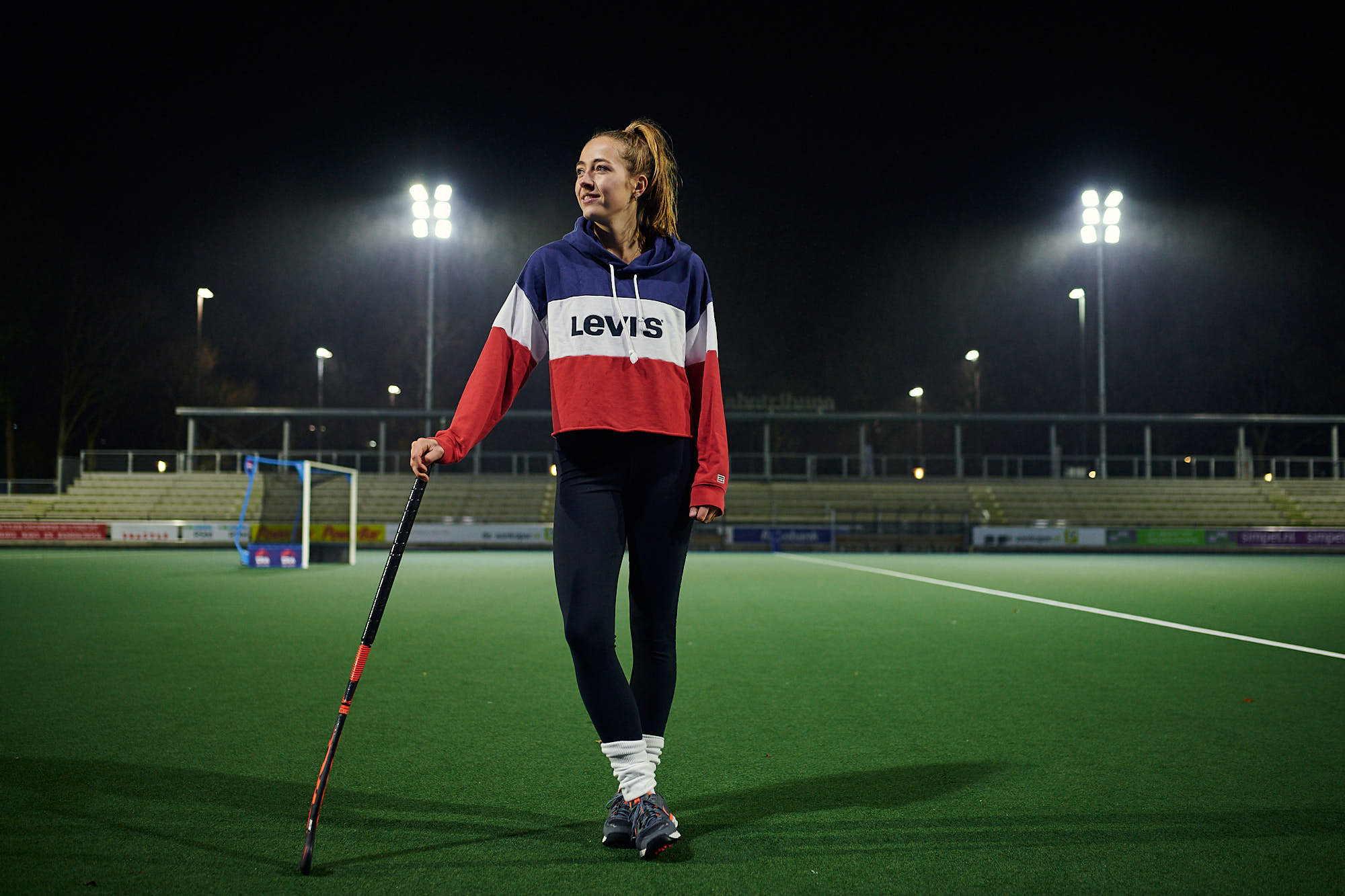 Full body portrait of hockey athlete Renée van Laarhoven