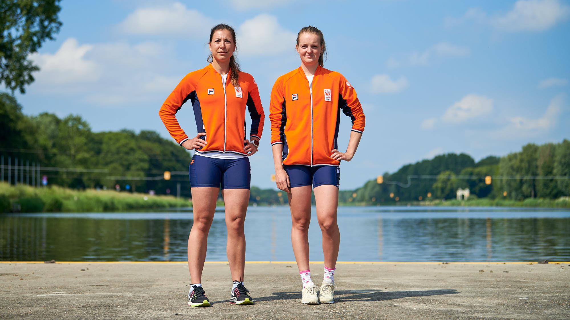 Portrait of top Dutch rowing athletes Ilse Paulis and Marieke Keijser