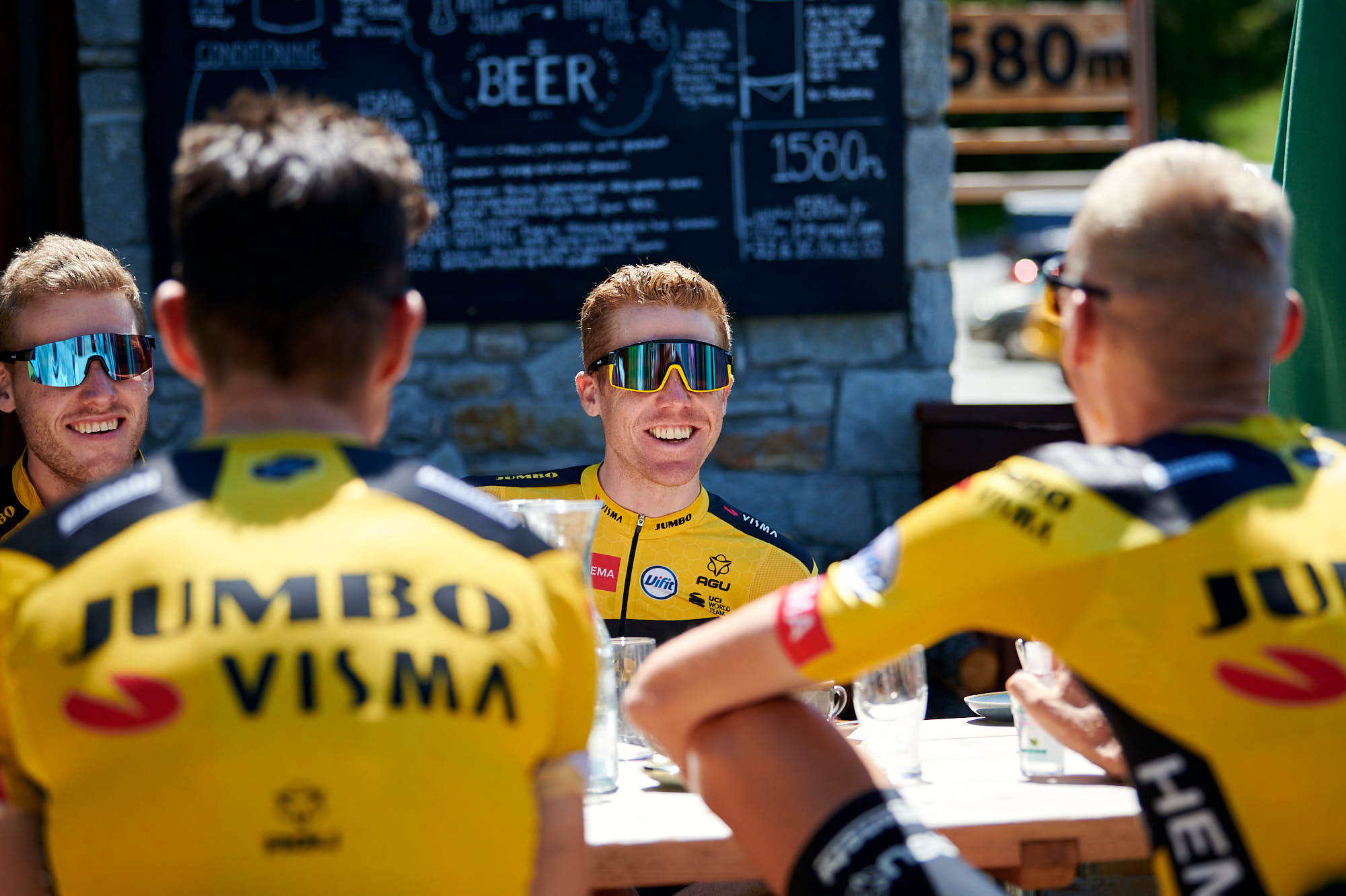 Jumbo-Visma riders during a coffee stop near Tignes