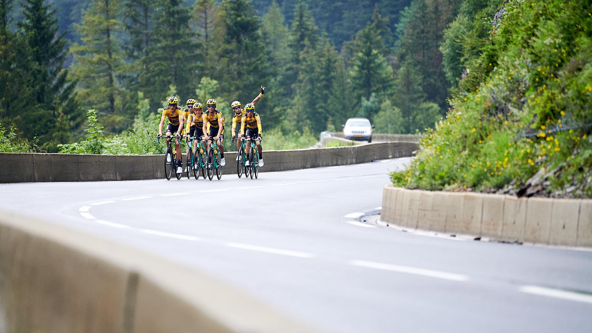 Team Jumbo-Visma's Tour de France cyclists training