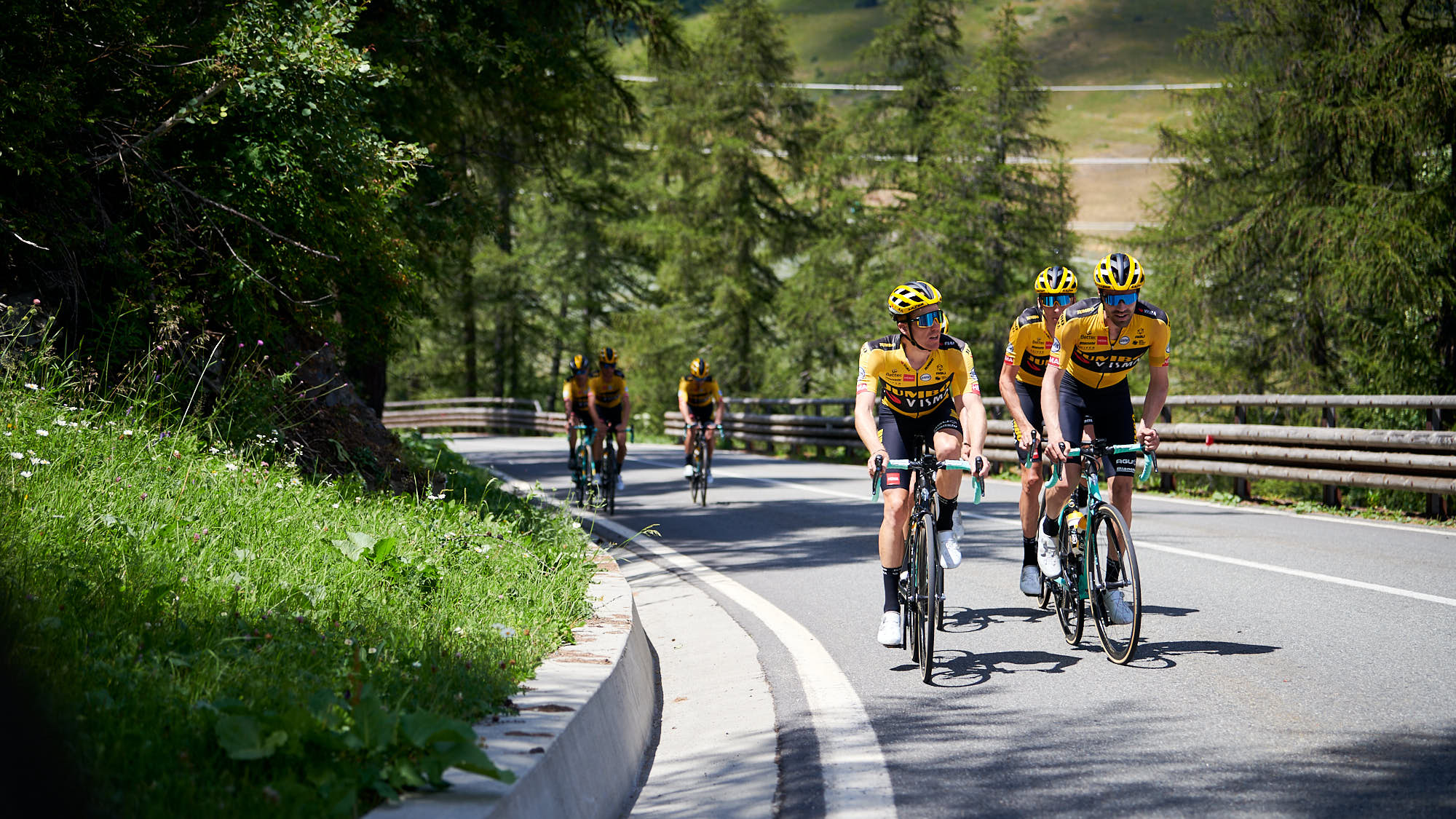 Tour de France cyclists training in the mountains